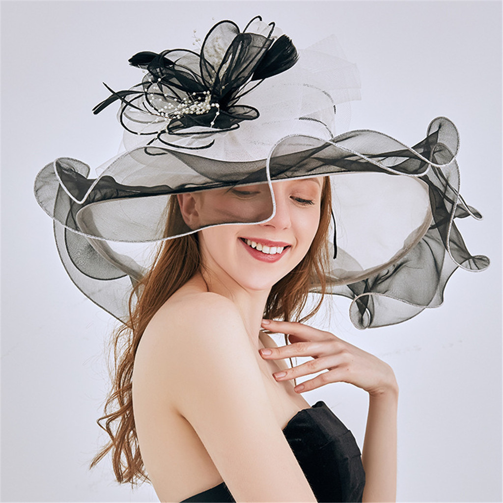 2019 New ladies Summer hats With brim brand straw Hats for Women Kentucky Derby Church Wedding Hat 4.30