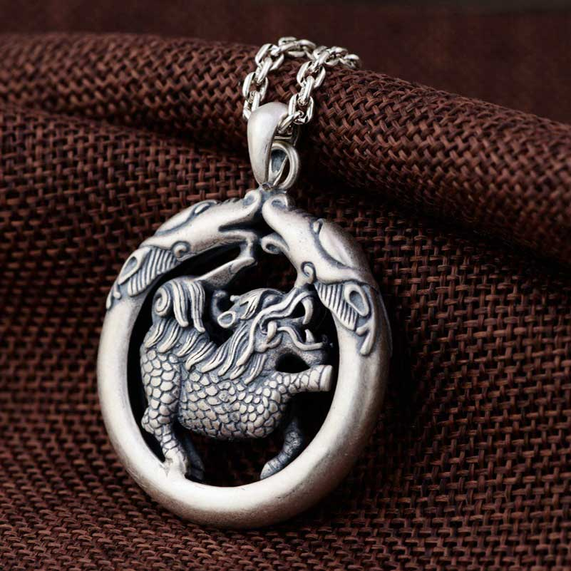 FNJ 925 Silver Qilin Pendant Animal Good Luck Hang Original S925 Thai Silver Pendants Men Women for Jewelry Making