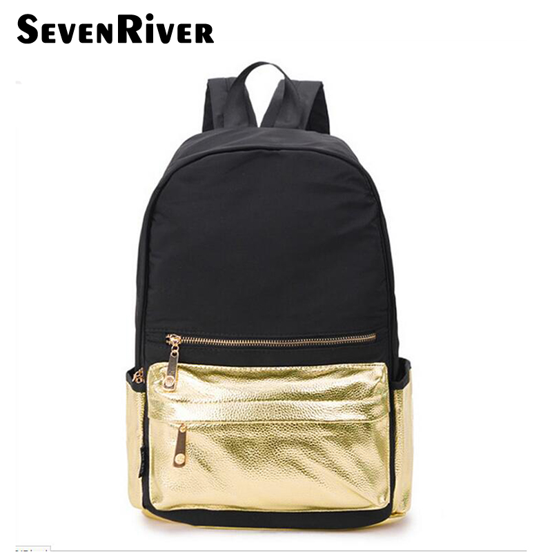 Gold Color Women Nylon Backpack For Teenager Girls Bagpack Women Mochila Feminina Casual School Shoulder Bags Waterproof