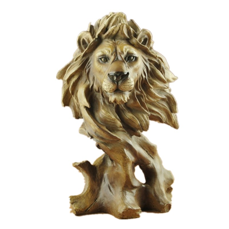 Faux Wood Lion Head Statue Animal Decorative Figurine Resin Art&Craft Home Decoration R50Faux Wood Lion Head Statue Animal Decorative Figurine Resin Art&Craft Home Decoration R50