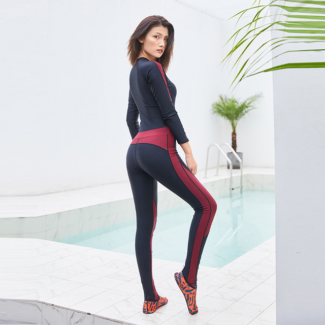 SEABOT Surfing Diving Wetsuits Black&Red Women's Full Body Elastic One-piece Jumpsuit Zip For Snorkeling Surfing Swim 8812