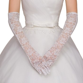 Women Bridal Gloves Elbow Length Full Finger Lace Wedding Accessories Prom Party Bridal Gloves