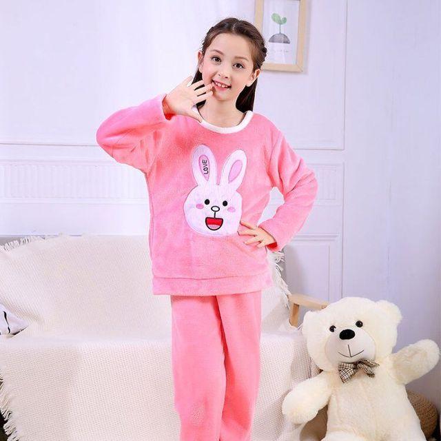 4de5f6b0c016 Girls Flannel Pajamas Sets Kids Rabbit Pyjamas Children Warm ...