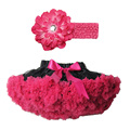 Buenos Ninos Girl Chiffon Pettiskirts With Headband Solid Colors Tutu Skirts Girl Dance Skirt Christmas Tulle Petticoat