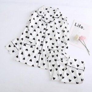 Image 3 - JRMISSLI 7 piece משי פיג מות Mujer לילה חליפת פיג נשים פיג מה סט פיג מה Pyjama Femme אהבת לב הדפסת פיג מה הלבשת