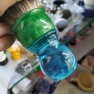 Image 4 - Escova de barbear sintética do cabelo do smoking de dscosmetic 26mm com punho da resina