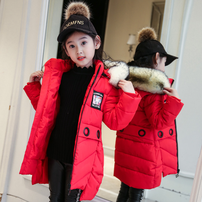 2017 Girls Winter Coat Thick Children Cotton Hooded Jacket Kids Parkas Warm Wear Fashion Winter Coats for 4-14Y Outwear geckoistail 2017 new fashional women jacket thick hooded outwear medium long style warm winter coat women plus size parkas