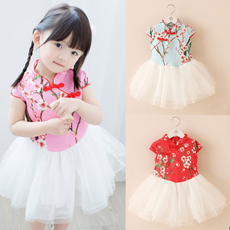 Summer Chinese Featured Cheongsam Qipao Girls Dresses Baby Dress Kids Clothes Children Vestidos 2018 T1/34632O 2017 autumn chinese style girl dress cotton short sleeve chinese cheongsam for kids baby girls qipao girls clothes