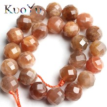 Натуральные граненые бусины Sunstone, драгоценные камни, свободные бусины-разделители для самостоятельного изготовления ювелирных изделий, браслеты, ожерелья 7,5 дюйма, 6 мм/8 мм