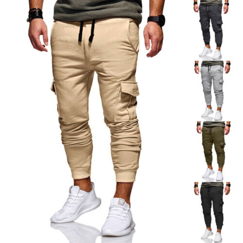 HOT Men's Casual Cargo Pants Fitness Gym Trousers Running Joggers Gym Tracksuit Casual Sportwear