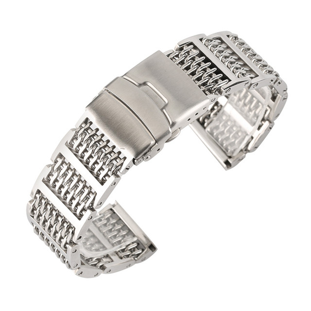 20 22 24mm Luxury Silver Black Mesh Men Women Watches Stainless Steel Strap Watch Band Adjustable Fold Clasp Replacement | Watchbands