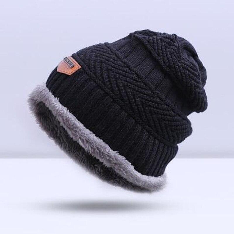 Зимняя вязаная шапка, шарф, набор, Мужская однотонная теплая шапка, шарфы, мужские зимние уличные аксессуары, шапки, шарф, 2 штуки - Цвет: Black2