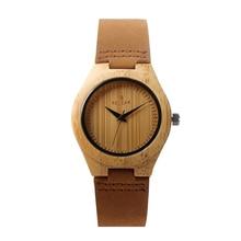 REDEAR Fashion Women Men's Wrist Watch Bamboo Wooden Watch Quartz Men Watch Genuine Leather Casual Watch relogio feminino P25