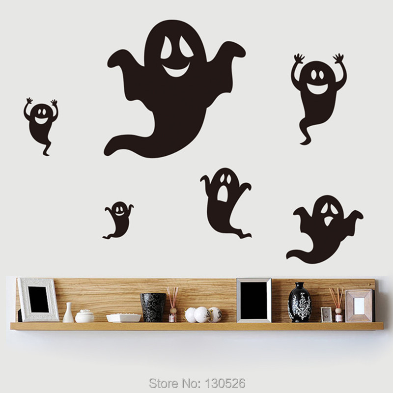6pcs Set Unique Design Wall Stickers Halloween Cartoon Ghost