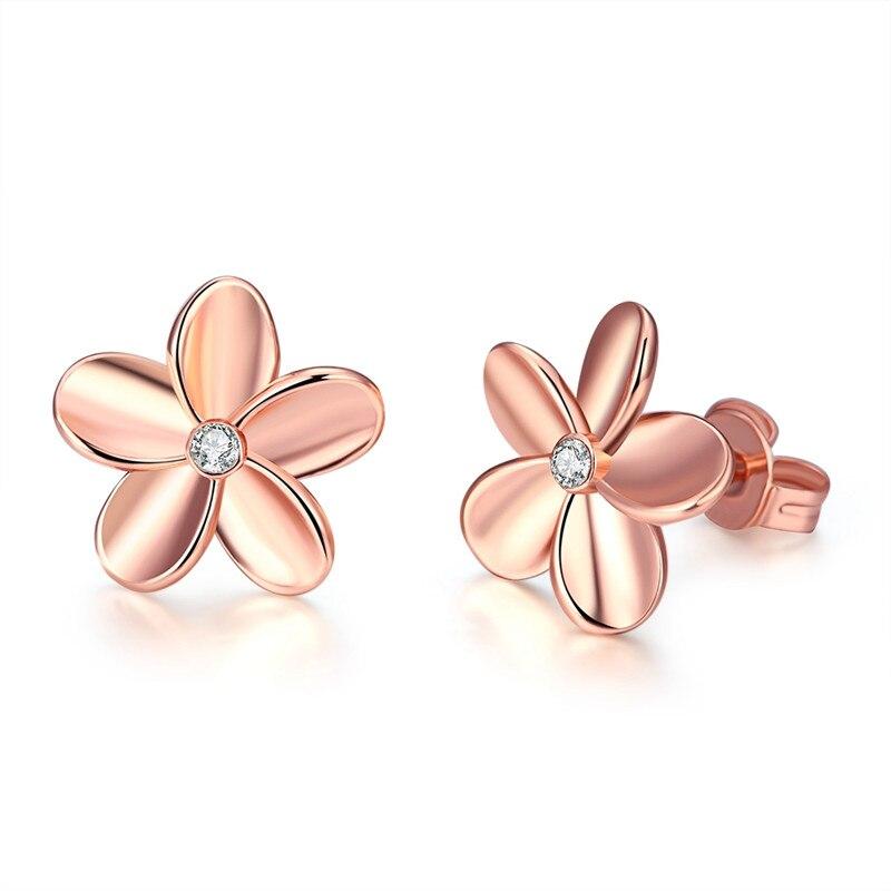 Women Korean Rose Gold Color Flower Rhinestone Charm Stud Earrings oorbellen orecchini pendent Simple charm Gift Free Shipping
