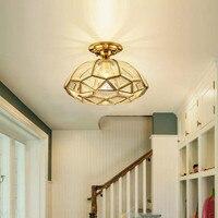 Retro 1 pcs Kitchen Ceiling Lights for Bedroom Villa Vintage Copper Ceiling Lamps Luxury E27 Hanging Light For Dining Room light