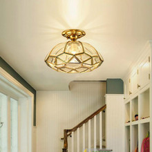Lámparas Retro de techo de cocina 1 Uds para dormitorio Villa Vintage lámparas de techo de cobre luz colgante de lujo E27 para comedor