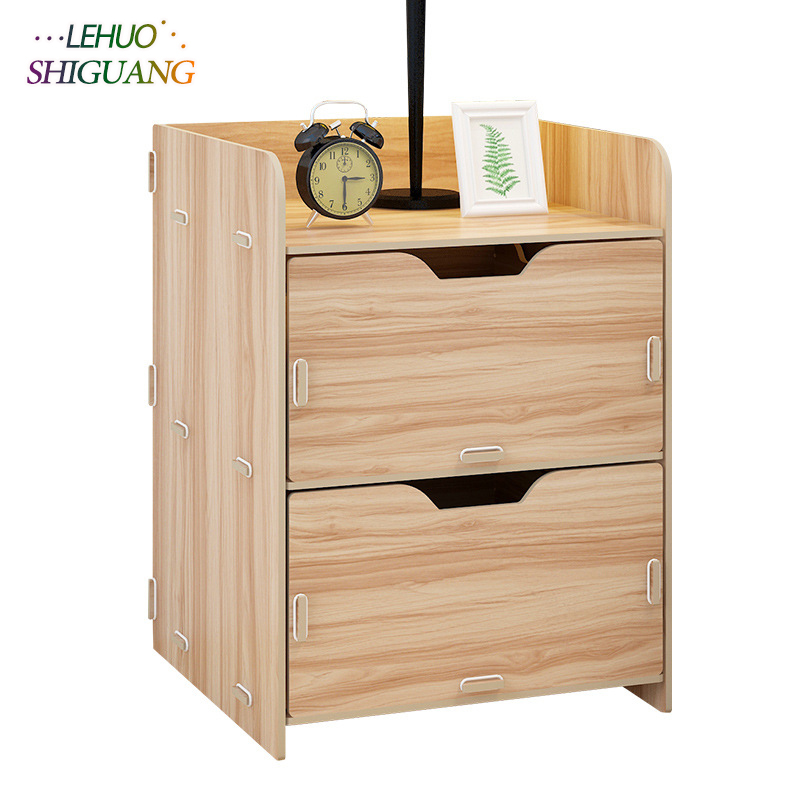 Wooden Nightstand Storage cabinet With drawer Organizer ...