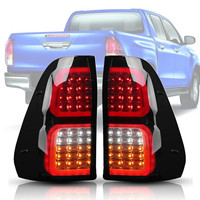 Car LED Rear Tail Lights Brake Lamps Smoked ABS 32x38cm for Toyota Hilux Vigo Revo 2016 2018 Easy to Install