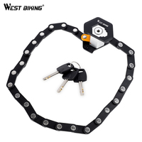 WEST BIKING Folding Bicycle Lock Anti Theft Security Bicycle Locks Steel Road MTB Cycling Lock With Keys Strong Bike Accessories