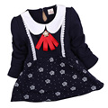2016 new spring 100% cotton long-sleeved round neck baby clothing baby girls dress 0-2 years Long sleeve T-shirt