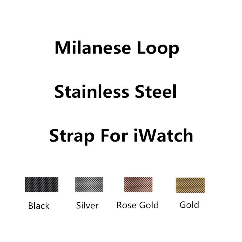 For Apple Watch Band 38mm 42mm Mesh Loop Magnetic Stainless Steel Closure Clasp Milanese Strap For iWatch Black Rose Gold Silver 16 18 20 22 23mm silver black gold rose gold blue mesh milanese loop steel bracelet wrist watch band strap magnetic closure