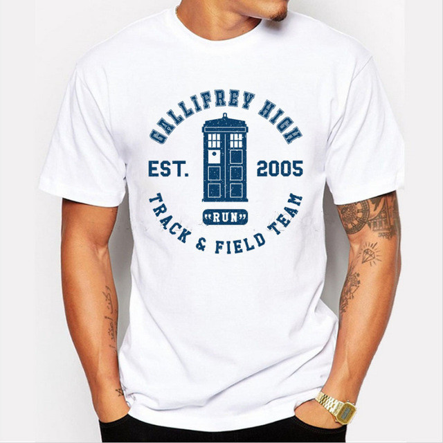 New fashion DOCTOR WHO ABBEY ROAD design cartoon printed men t-shirt short sleeve police box male hipster tops casual funny tee