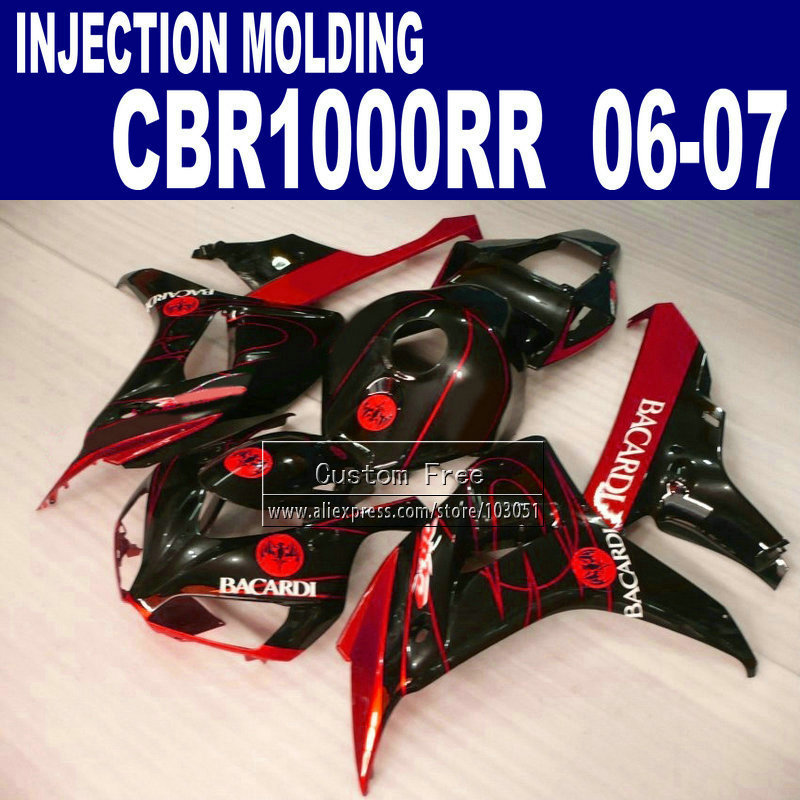 Injection molding fairings parts for CBR 1000 RR 2006 2007 CBR 1000RR 06 07 CBR 1000RR red BACARDI motorcycle fairing bodykit aftermarket free shipping motorcycle parts eliminator tidy tail for 2006 2007 2008 fz6 fazer 2007 2008b lack