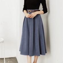 HziriP Long Skirts Womens 2017 New Autumn Winter Vintage Office OL Wear High Waist Solid A-line Suede Skirt with Belt Jupe Femme