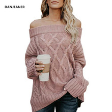 Danjeaner Women Sexy Off Shoulder Sweater Loose Cable Knitting Plus Size Long Pullover Female Thick Coarse Knitted Winter Jumper