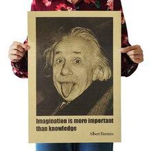 Наклейка на стену, фантазия Эйнштейна, более важна, чем ретро-плакаты, крафт-бумага, настенная наклейка, винтажный киноплакат