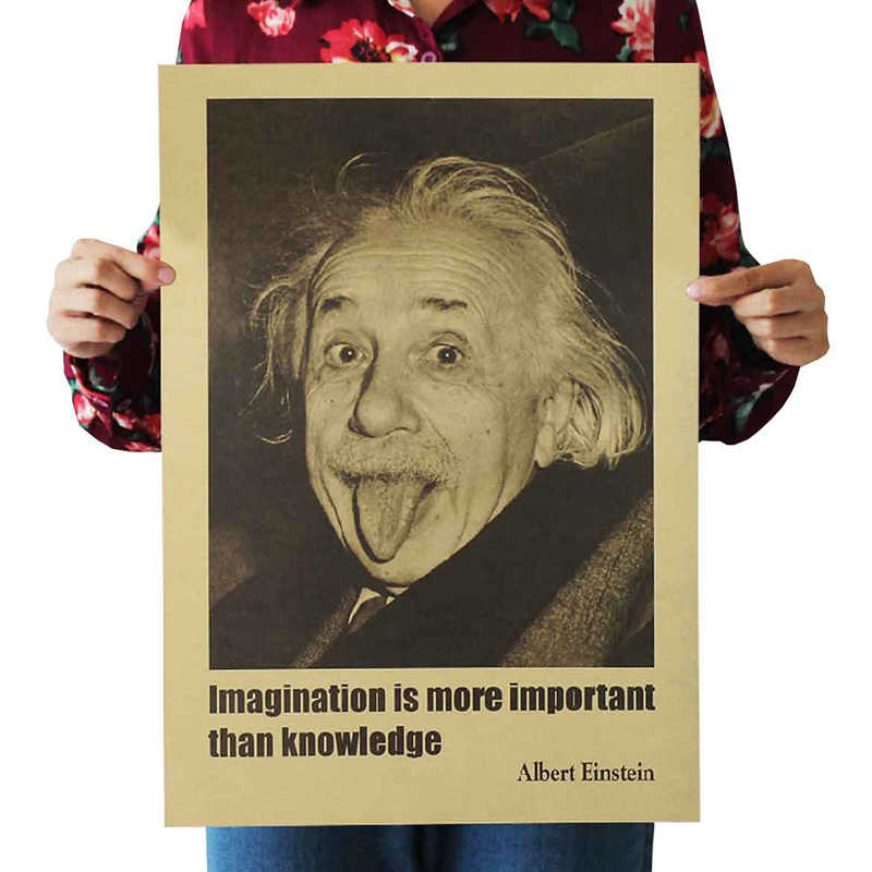 Wall Sticker Einstein Imagination Is More Important Than Knowledge Retro Posters Kraft Paper Wall Stickers Vintage Movie Poster