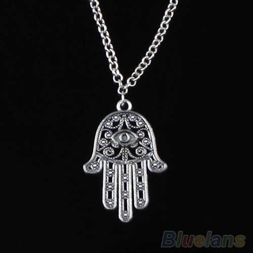 Good Luck Protection Hamsa Symbol Fatima Hand Evil Eye Pendant Chain Necklace 1P1K