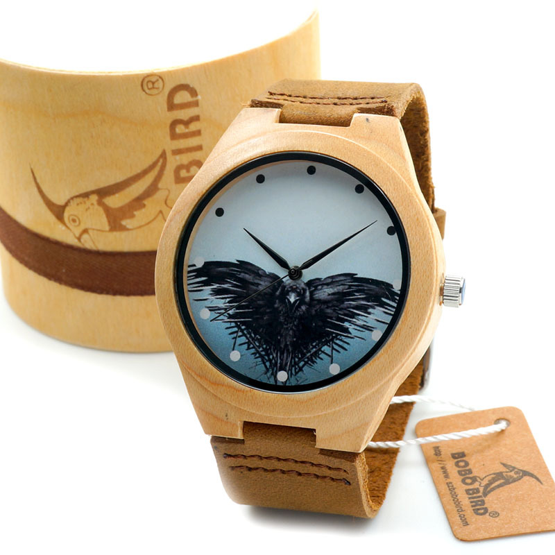 BOBO BIRD Mens Wood Wristwatch Song of Ice and Fire Game of Thrones Dial Wood Quartz Watch in Gift Box relogio masculino