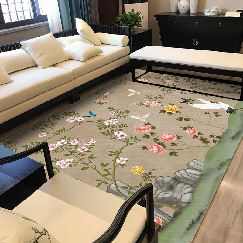 Chinese Style Flower Birds Printed Big Tapete Classic Pastoral Area Rugs Living Room Bedroom Yoga Floor Mat Jacquard Sofa Carpet