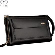 YINTE Business Men Wallet Long Designer Double Zipper Leather Male Purse Brand Mens Clutch Handy Bag Luxury Wallets Portfolio