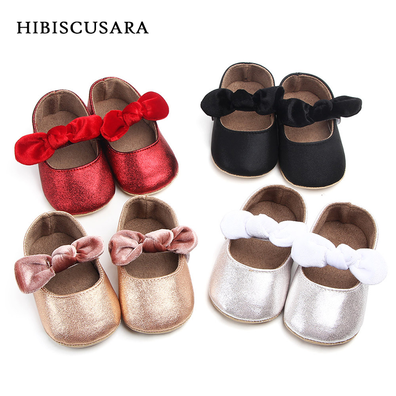 PU Baby Mary Jane Flats Shoes Infant Girl First Walkers Velvet Bowknot Soft Rubber Sole Newborn Bebe Prewalkers Shine Crib Shoes