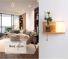 Solid Wood  Plants Wall Lamp Bedside Room Bedroom Lamps Arts For Living Aisle Hallway Mini Sconces AC 90-260V