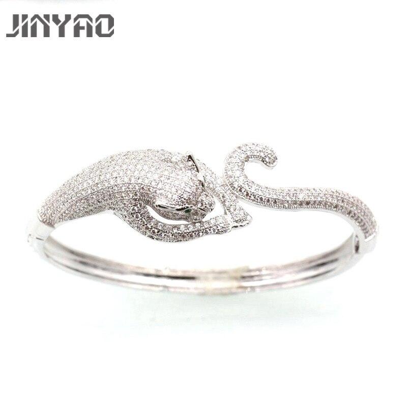 JINYAO Gorgeous White Gold Color Tiger Zircon Women Wrist Bangle Bracelet For Women Fashion Gift Jewelry L01-3 недорго, оригинальная цена