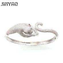 Фотография JINYAO Gorgeous White Gold Color Tiger Zircon Women Wrist Bangle Bracelet For Women Fashion Gift Jewelry L01-3