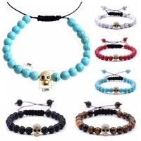 10pcs Wholesales Adjustable Natural Crystal Stone Bead Bracelet Female Micro CZ Skull Charm Braiding Macrame Bangle For Women