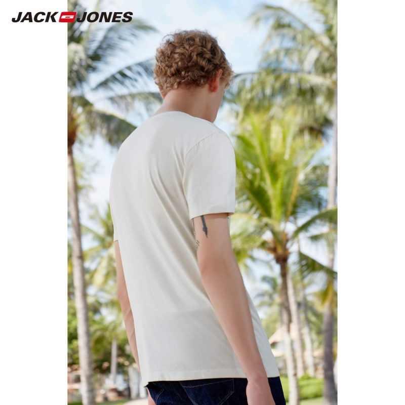 JackJones Мужская футболка из 100% хлопка с принтом, мужская одежда 219101527