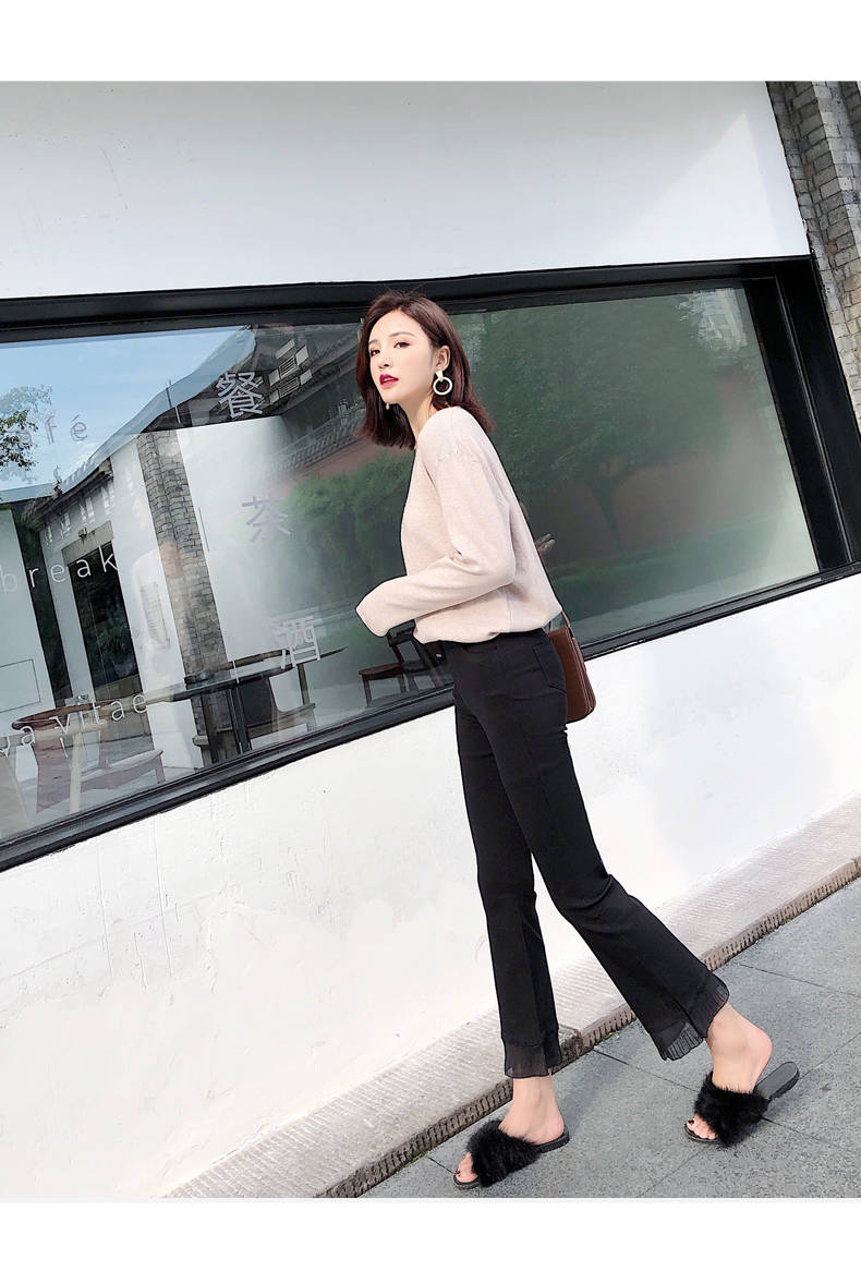 2019 Trousers Women High Waist Bell Bottom Metal Ring Flare Pants Wide Leg Pants Big Plus Size XL Black White Female Capris PP05 28