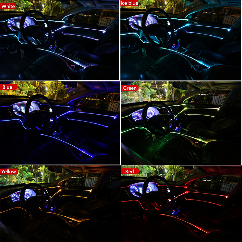 New Sound Active EL Neon Strip Light RGB LED Car Interior Light Multicolor remote Control Atmosphere Light 12V 6M in Signal Lamp from Automobiles Motorcycles