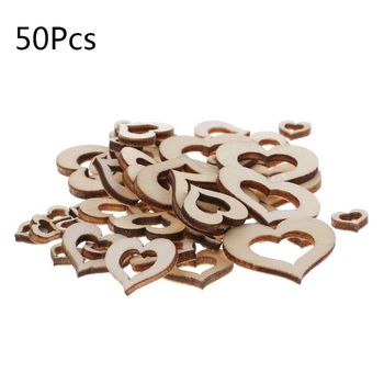 Lote de 50 Uds. De adornos de madera en forma de corazón de tamaño mixto, decoración para bodas artesanal 19QB