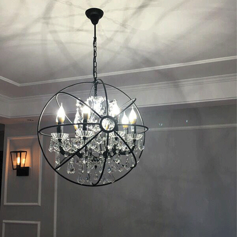 Modern Crystal Orb Chandelier Lamp Lighting RH Rustic Candle Chandeliers Vintage LED Pendant Hanging Chain Dinning Light vintage birdcage crystal chandelier lighting black rustic bird cage pendant hanging light chandeliers lamp for dining room bar