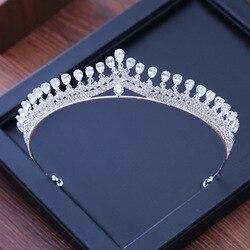 Luxo zircônia cúbica sparking casamento coroa tiaras marquise-corte de zircão cz strass baile coroa coronet cristal cabelo jóias