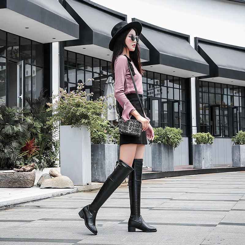 LTARTA 2018 ฤดูใบไม้ร่วงฤดูหนาวเข่ารองเท้าบู๊ตยาวหญิงเข่ารองเท้าส้นสูง plus กำมะหยี่ยืด slim รองเท้าผู้หญิง LJS-999-1