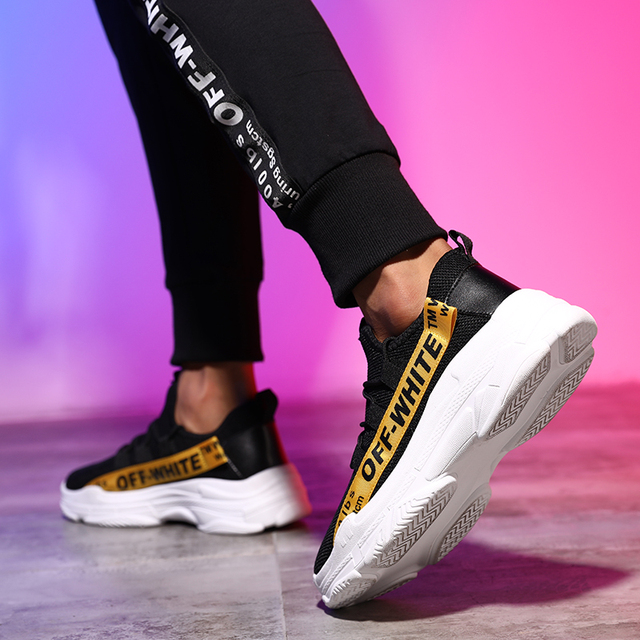 Internet Celebrity Men Sneakers  Plus Size Men Fashion Light Mesh Casual Sports Shoes Luxury Off Whit Shoes Brand Mens Shoes