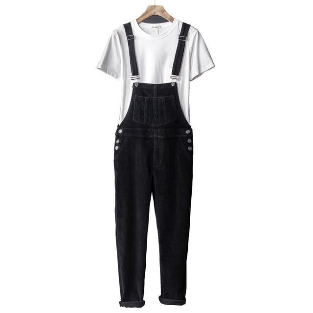 085c7149f9bf Mens Corduroy Jumpsuit Slim Fit Ankle Length Black Overalls Pants For Men  New 2018 Japan Style Bib pants Fashion Brand Clothing